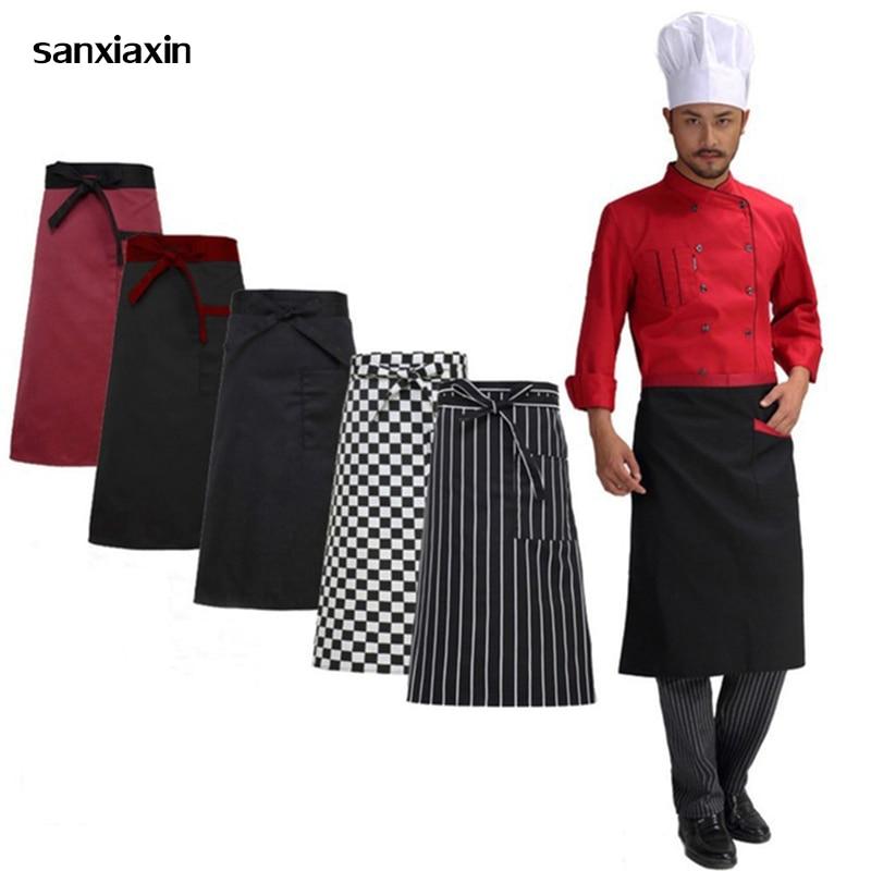 New Restaurant Kitchen Apron Adjustable Half Body Male Adult Apron Striped Hotel Chef Waiter Short Kitchen Cooking Apron