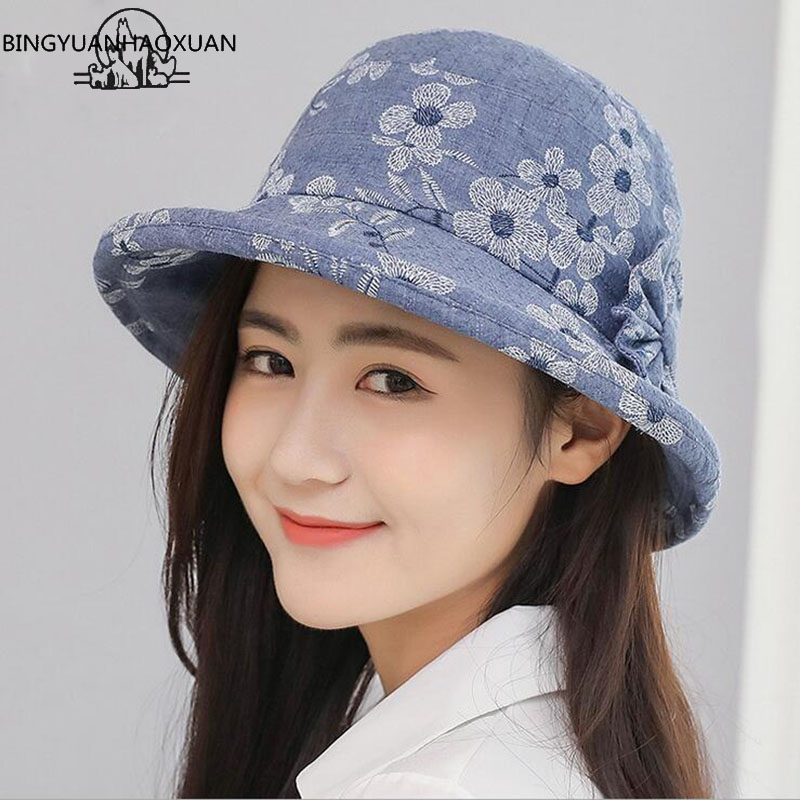 BINGYUANHAOXUAN 2018 New Free Shipping Summer style Printed caps Women Leisure Basin hat Floppy Summer Women Beach SunHats With