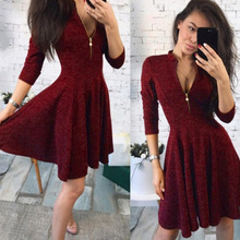 Womens autumn new womens fashion sexy zipper dress