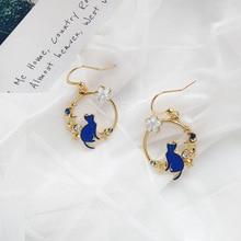 цена на Stylish Cartoon Blue Cats Geometric Round Hoop Earrings for Girls Cubic Zircon Small Flowers Loop Earrings