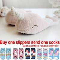 Kids Unicorn Slippers Girls Winter Warm Home Shoes Children Cute Plush Cotton Slippers Adult Pink Flip Flop Boys 35 38
