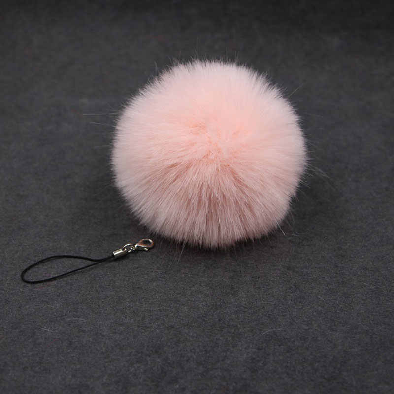 แฟชั่น 8 cm Fluffy สีชมพู Rose Red Pom Pom พวงกุญแจผู้หญิงกระเป๋าโทรศัพท์ Faux กระต่ายขน PomPom Key โซ่ pompon เครื่องประดับ