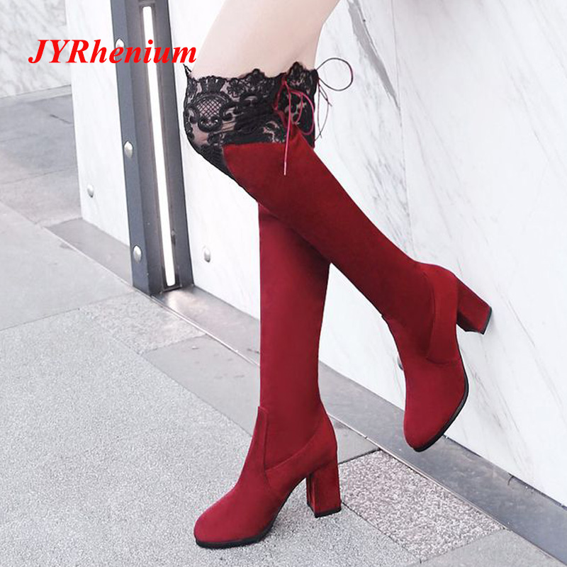 JYRhenium 2018 New Fashion Sexy Women Boots High Heels Lace Over Knee Boots Female Winter Shoes High Boots Plus Size 34-43 plus size 34 43 winter autumn women soft leather knot low heels lovely knee high boots 3colors pink ladies fashion female shoes