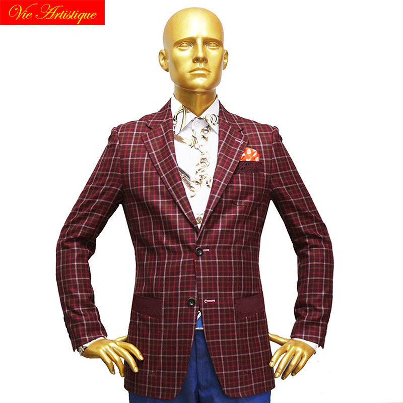 Custom Tailor Made Men's Bespoke Suits Business Formal Wedding Bespoke 2 Pieces Jacket Coat Pant Red Plaid Fine Wool 2019 Winter