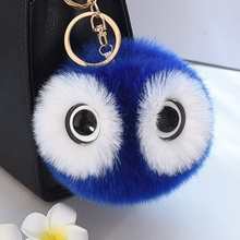 13cm Faux Rex Rabbit Fur Ball Pompom Keychain Fluffy Owl Gold Key Chain Fashion Pom Pom Eye Toy Keyring Women Bag Charms Trinket