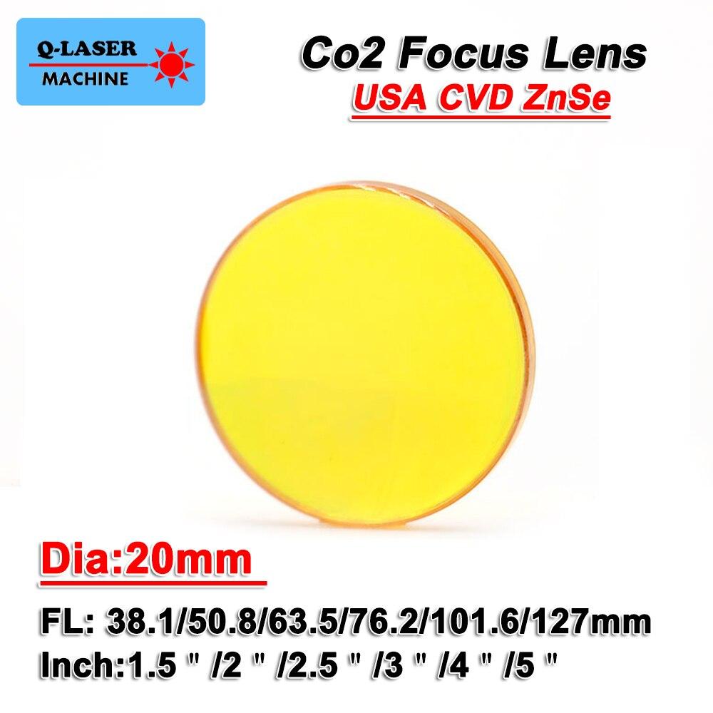 USA CVD Co2 Laser Focus Lens 20mm Diameter FL 38.1 50.8 63.5 76.2 101mm ZnSe laser Lens For Engraving And Cutting Machine