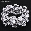 Mecresh Luxo Cristal Bracelet & Bangle Rhinestone Banhado A Prata Folha Elastic Bangle Nupcial da Jóia Do Casamento para As Mulheres SL108