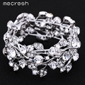 Mecresh Luxury Crystal Bracelet & Bangle Rhinestone Silver Plated Leaf Elastic Bridal Bangle Wedding Jewelry for Women SL108