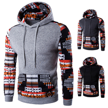 Digital Printing Casual Style National Pattern Full Sleeve Hooded Coat Male Fashion Clothing