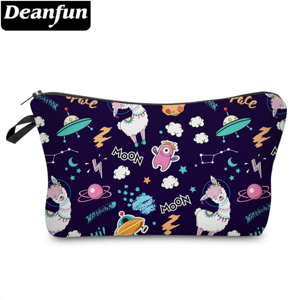 Deanfun Space Cosmetic Bag Waterproof Printing Lovely Llama Pouch Custom Color For Travel  51481