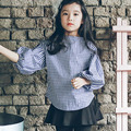 loose school girl blouse long sleeve tops blue plaid children blouse for girls 2017 new spring summer autumn kids clothes