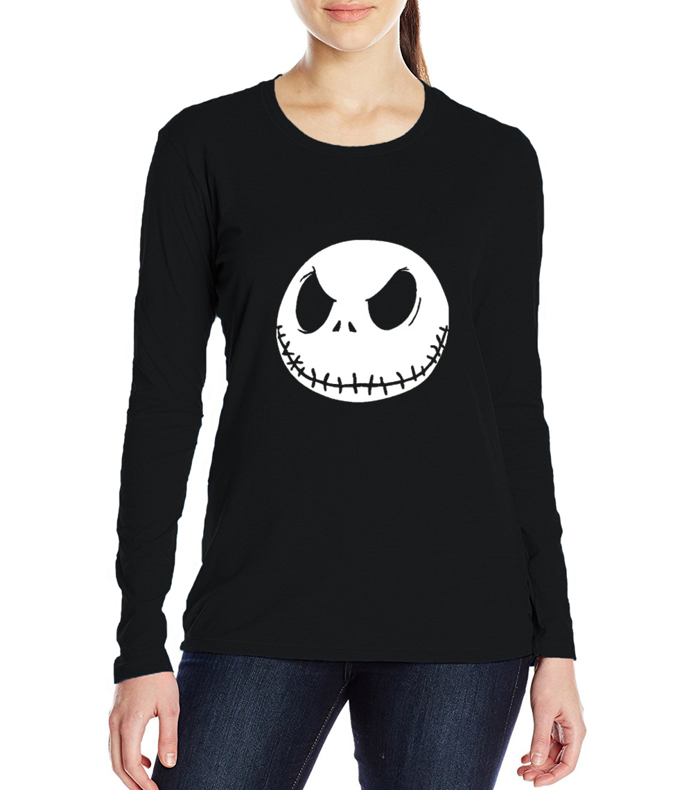women fhipster harajuku haut femme funny Jack Skellington kpop Smile t-shirts woman long sleeve top cotton female tee shirt 2017