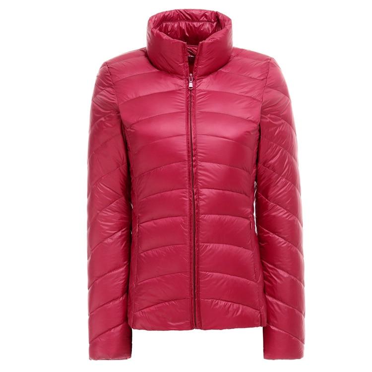2016 kadın ultra hafif aşağı ceket kış ördek aşağı ceketler kadın İnce uzun kollu standı yaka parka fermuar ceket artı boyutu F893