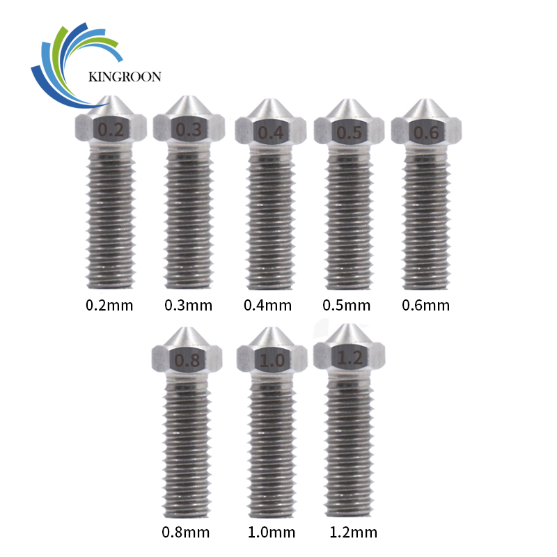 KINGROON All-Mental Volcano Stainless Steel Nozzles For 3D Printer 0.2mm-1.2mm For 1.75mm Extra Lengthen M6 Nozzles Parts 15