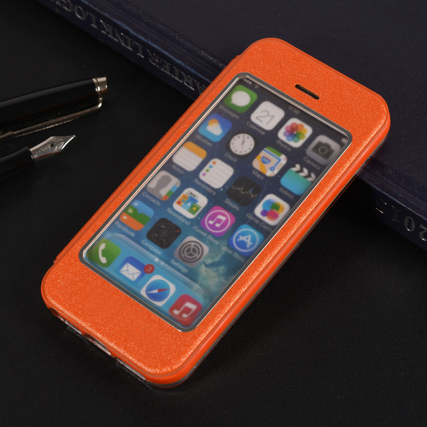 Leather Case Holster Sleeve For Apple iPhone 5 5S SE Slim Luxury Touch View Answer Calls Shell Shockproof Phone Bag Flip Cover