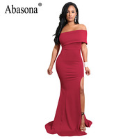 Abasona Long Maxi Dress Women Summer Off Shoulder Dress Elegant Ladies High Split Ruffles Evening Party