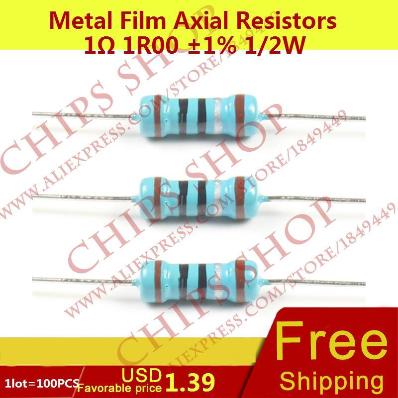 1LOT=100PCS Metal Film Axial Resistors 1ohm 1R00 1% 1/2W 0.5W Wattage1/2W resistor