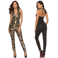 6e509103fad Green Sexy Club Bandage Jumpsuit Women New Halter Neck Deep V Backless  Camouflage Sequined Jumpsuits Romper Playsuits Bodysuit