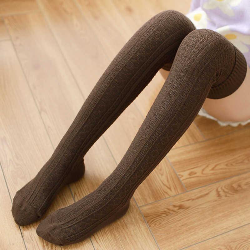 654780b9c ... 1 Pair Women Girl Over Knee High Socks Spring Autumn Winter Warm Knit  Soft Thigh High ...