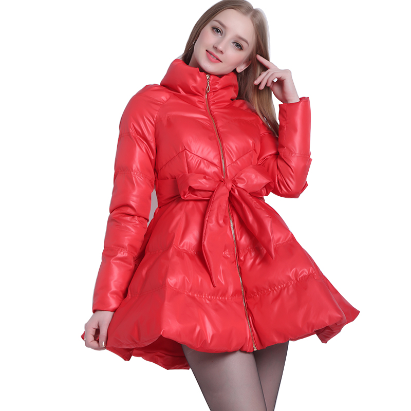 2017   Parka   Coat Bow Waist Fluffy Skirt A Warm Coat Jacket   Parkas   For Women Winter Women Down And   Parkas   2017 Long A1-1