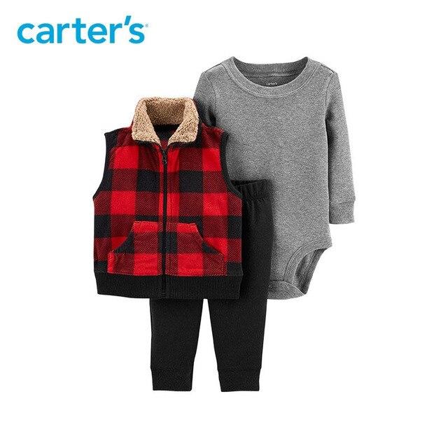 5c27a09c567d6c R$ 148.84 |3 pcs algodão bodysuit calças cheques de búfalo fleece colete  Conjunto de coordenação 121I951 Carter's do bebê do menino queda roupas ...