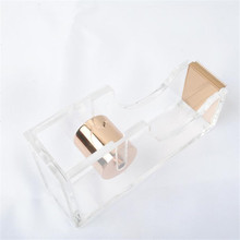 Clear Acrylic Rose Gold Stationery Washi Tape Dispenser Packing Adhesive Band Cutter for Tape Office School Supplies(China)