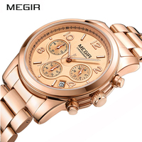 MEGIR Ladies Quartz Watch Women Girl Lovers Wristwatch Stainless Steel Band Strap Chronograph Time Clock Fashion Female Watches