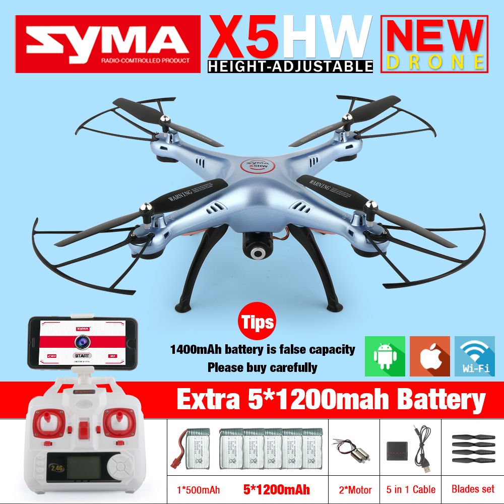 Syma X5HW FPV RC Quadcopter Drone with WIFI Camera HD 2.4G 6-Axis VS Syma X5C Upgrade dron RC Helicopter Toys with 6 battery new arrival syma x8hg wifi fpv 3d rolling dron rc 2 4g remote control 6 axis rc drone hd camera rc quadcopter with led light