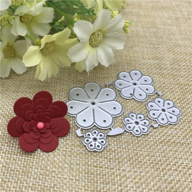 5pcs Flower Metal Cutting Dies Stencils For DIY Scrapbooking Decorative Embossing Handcraft Die Cutting Template