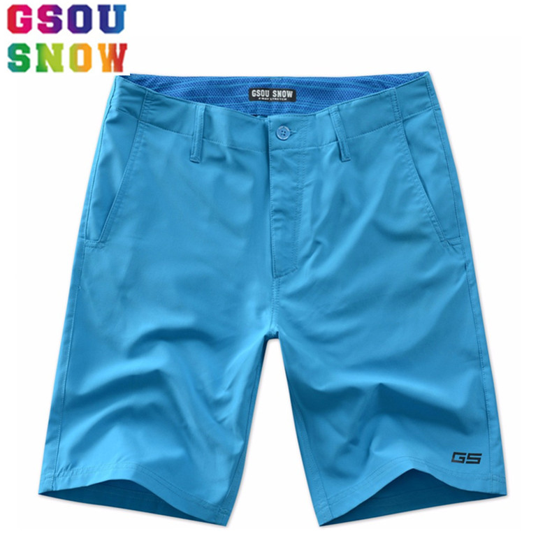 GSOU SNOW Brand Beach   Shorts   Men   Board     Shorts   Summer Swimwear Man Surfing Swimming Quick Drying Solid Plus Size Boardshorts