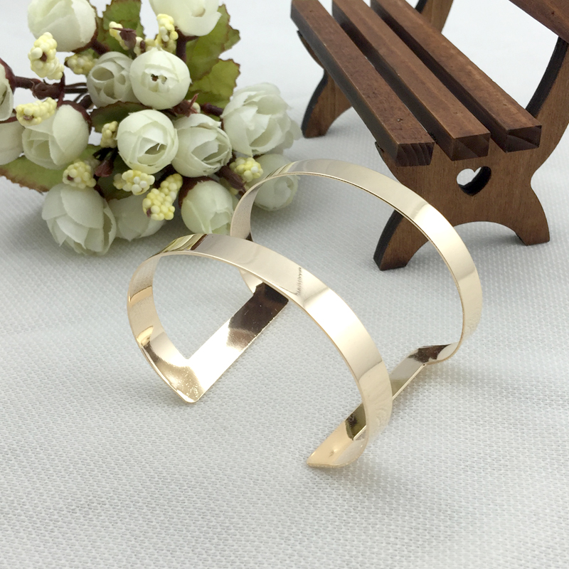 Top Quality Gold/Silver Plated Personality Exaggerate Wide Side Opening Alloy Bracelets Bangles Jewelry For Women