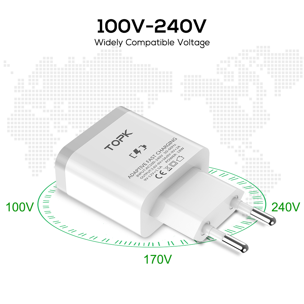 Image 4 - TOPK B126Q 18W Quick Charge 3.0 Fast Mobile Phone Charger EU Plug Wall USB Charger Adapter for iPhone Samsung Xiaomi Huawei-in Mobile Phone Chargers from Cellphones & Telecommunications