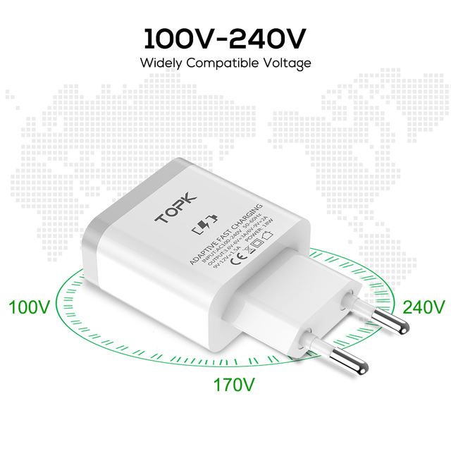 USB Quick Charge 3.0 EU Plug Phone Charger