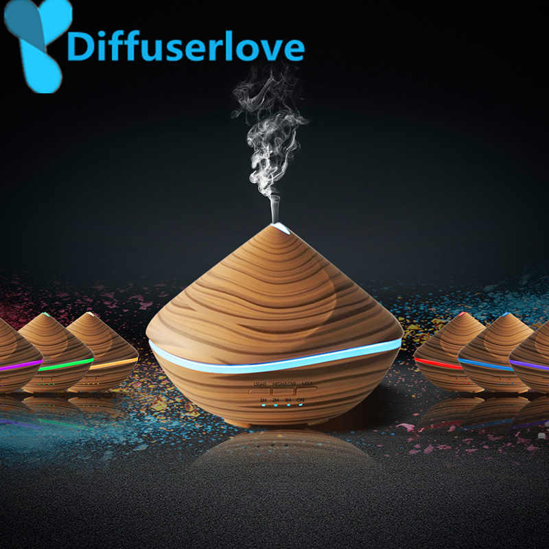 Diffuserlove 500 มิลลิลิตร Aroma Essential Oil Diffuser Air Humidifier ไม้ Grain LED Light Mist Fogger สำหรับ Office Home