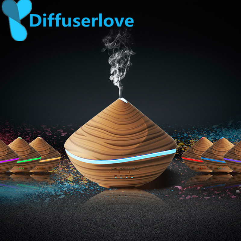 Diffuserlove 500ML Aroma Essential Oil Diffuser Ultrasonic Air Humidifier Wood Grain with LED Light Mist Fogger for Office Home 500ml usb air humidifier essential oil diffuser mist maker fogger mute aroma atomizer air purifier night light for home