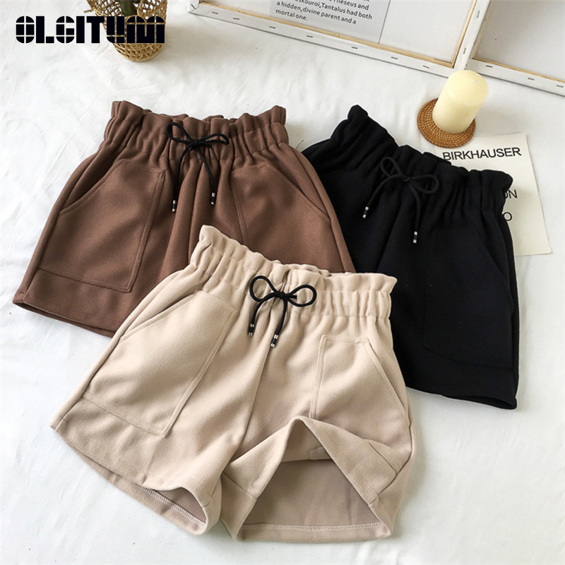 New 2019 Autumn Winter Women Shorts Casual Loose Solid High Waist Shorts Thick Warm Elastic Waist Shorts With Pockets Outwear