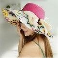 Mujeres playa sombreros Cap 2017 Nueva Manera Del Verano de Ancho Plegable imprimir Floppy Sun sombreros bowknot del sombrero de Paja Sombreros de Las Señoras Ocasionales chica
