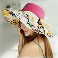 Women beach hats Cap 2017 Summer New Fashion Foldable Wide Print Floppy Sun Straw Hats Casual Ladies sombreros bowknot hat Girl