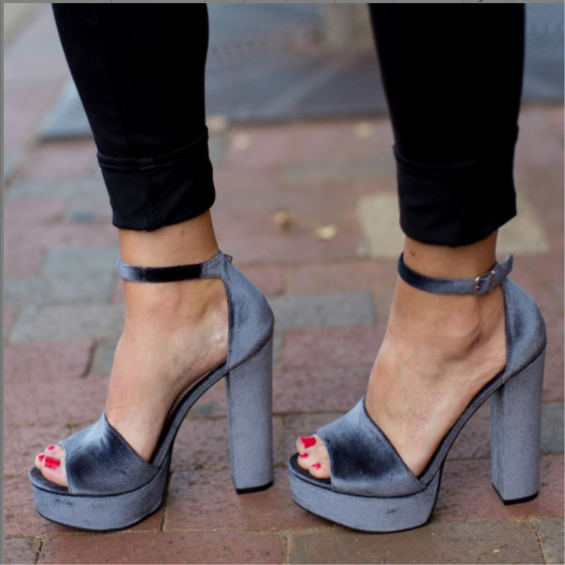 SHOFOO shoes,Noble fashion free shipping, shiny suede, about 15 cm high-heeled sandals, thick-heeled womens sandals. SIZE:34-45SHOFOO shoes,Noble fashion free shipping, shiny suede, about 15 cm high-heeled sandals, thick-heeled womens sandals. SIZE:34-45