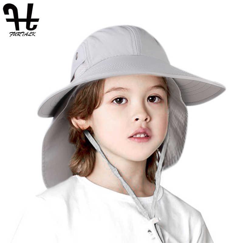 FURTALK/Летняя шляпа для детей, шляпы солнцезащитные для мальчиков и девочек с воротником, с клапаном, Детская Водонепроницаемая сафари, защита от солнца, дорожная шляпа, Детская летняя кепка, 2019