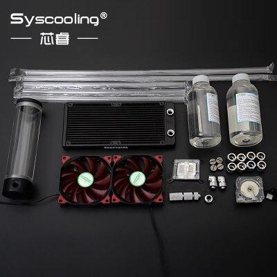 SysCooling acryl festrohr kupfer kühler wasserkühlung kit für computer CPU