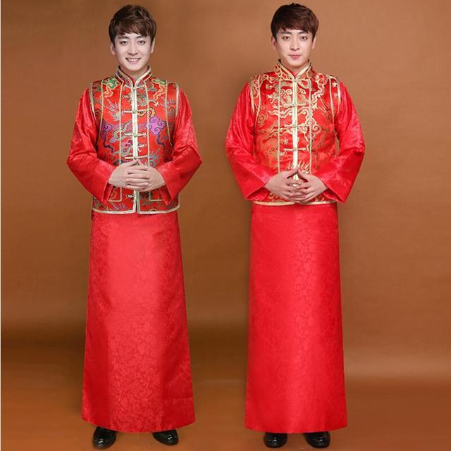 Nuovo arrivo di sesso maschile cheongsam di stile Cinese costume il vestito  dello sposo giacca abito 9b63de79d8b