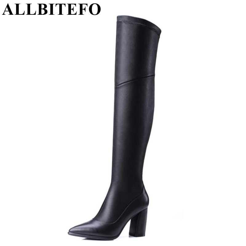 ALLBITEFO fashion thick heel genuine leather+pu Elastic boots over the knee high boots pointed toe high heels winter snow boots fashion slim rivets thick heel pointed toe zip winter snow boots genuine leather stretch fabric over the knee boots women boots