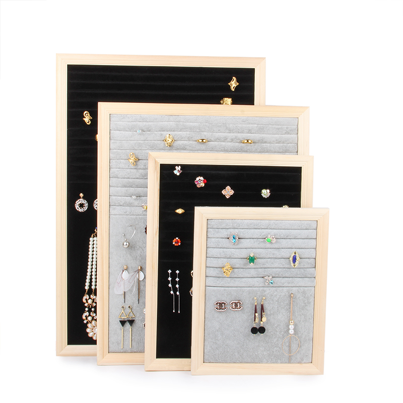 Gros gris noir velours avec bois Fram forme pour bijoux stockage Rring collier boucle d'oreille présentoir titulaire cintre