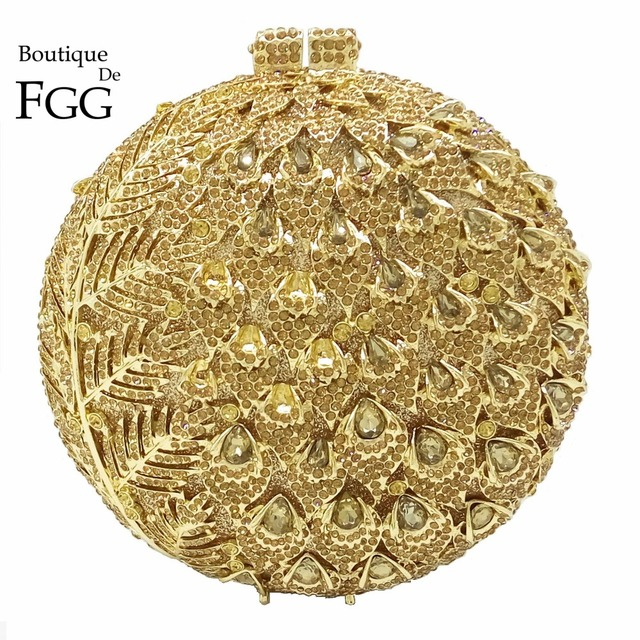 Dazzling Women Hollow Out Flower Buds Circle Box Gold Topaz Crystal Evening Bags Wedding Party Prom Bridal Handbags Clutch Purse