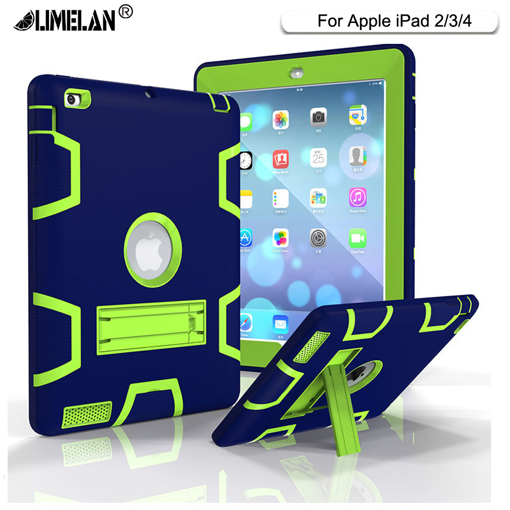 For Apple iPad2 iPad3 iPad4 Case Back Cover Tablet Silicon+PC Shockproof Hybrid Heavy Duty Rugged Combo With Kickstand Funda for apple ipad2 ipad3 ipad4 case kids safe armor shockproof heavy duty silicon pc stand back case cover for ipad 2 3 4 tablet pc