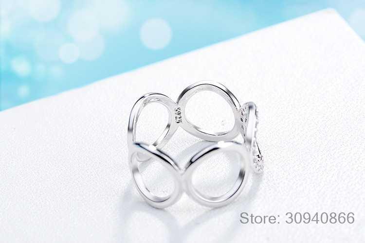 925 เงินสเตอร์ลิงแหวนผู้หญิงแฟชั่นอินเทรนด์โมเสค CZ Zirconia ปรับขนาดได้แหวน bague anillos anel femme S-R219