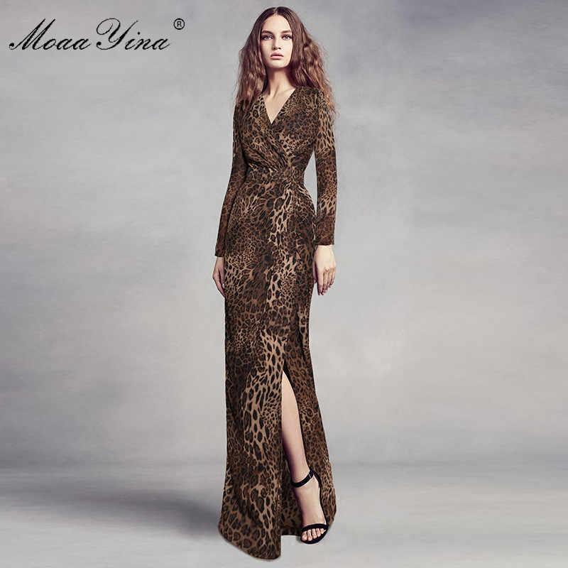 MoaaYina модное дизайнерское подиумное Макси платье весна женское v-образный вырез с длинным рукавом леопардовая тонкая юбка-тубус на бедрах благородное элегантное платье