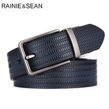 RAINIE SEAN Reversible Belt Leather Men Vintage Genuine Cowhide Pin Buckle Black Formal Embossed Strap Male