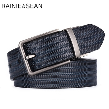 цена на RAINIE SEAN Reversible Belt Leather Men Vintage Genuine Cowhide Belt Pin Buckle Black Formal Embossed Leather Strap Male Belt